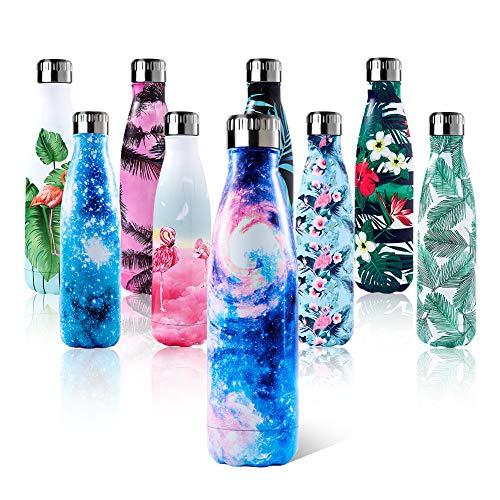 Shinemefly Edelstahl Trinkflasche für Kinder-500ml, Vakuum Wasserflasche - Premium Isolierflasche Galaxis Graphic Thermosflasche Sportflasche 24 Std. Kalt und 12 Std. Heiß für Sport, Yoga, Camping