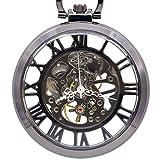 LEYUANA Reloj de Bolsillo mecánico de Plata automático Mano Reloj de Bolsillo de Esqueleto Números Romanos análogos Blancos UNbox Fob nobox