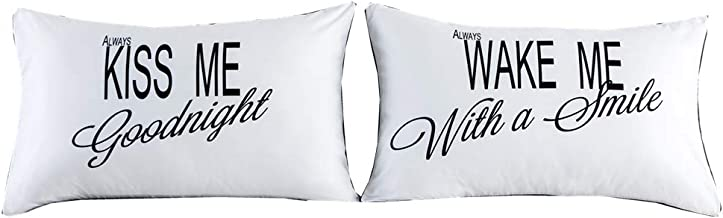 NTBED Couples Pillowcases His Hers Pillow Cover Gifts for Boyfriend Girlfriend Husband Wife, Wedding (7, 19''x29'')