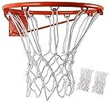 BlesMaller 2 reti da Basket Professionali in Nylon Resistente Multicolor da 12 Pezzi (12 Giri), Adatte per Supporti da Basket da Interno o Esterno(Bianca)