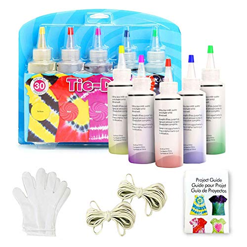 Doreenbow Tulip Tie Dye,5 Colors Tie Dye Kits for Adults, Kids, DIY Tye Dye with Rubber Bands Gloves and Table Covers