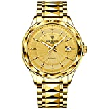 LIGE Men Watch Fully Automatic Mechanical Tungsten Steel Watches Stainless Steel,100M Waterproof Automatic Winding Large dial Wrist Watch Fashion Business Watches for Men All Gold