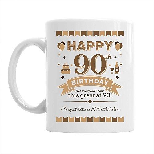Taza de 90 cumpleaños - Para hombre y mujer - Como regalo divertido o recuerdo - Blanco - 295ml (10 fl oz)
