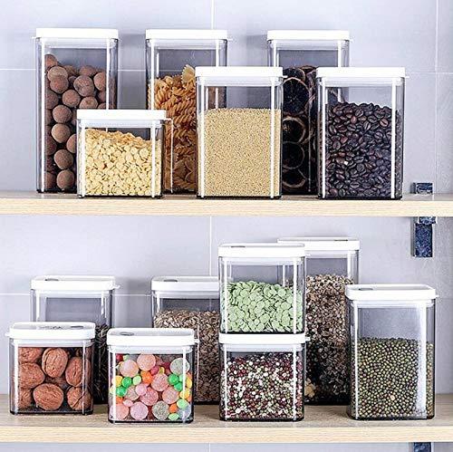 Caja de almacenamiento de contenedores de almacenamiento de alimentos herméticos con tapas para el hogar Granos gruesos. Latas selladas transparentes, tanques de almacenamiento de grado alimenticio co