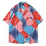 Camisa de Manga Corta para Hombre Camisa de Moda con Estampado de Paisley Retro de Verano Camisa de Moda Hawaiana Informal Suelta de Tendencia Hip-Hop Camisa de Manga Corta XL
