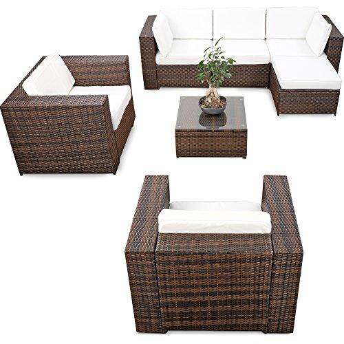 XINRO® erweiterbares 21tlg. Lounge Möbel Polyrattan Set XXL - braun-Mix - Sitzgruppe Garnitur Gartenmöbel Lounge Eck Set - inkl. Lounge Sessel + Ecke + Hocker + Tisch + Kissen