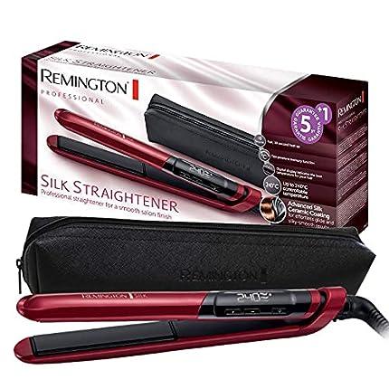 Remington Plancha de Pelo Silk - Cerámica, Digital, Placas Flotantes Extralargas, Resultados Profesionales, Rojo - S9600
