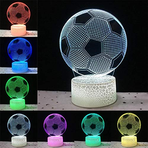 Niños noche luz de fútbol 3D ilusión óptica luz 16 colores cambiantes noche luz para niños