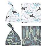 Newborn Swaddle Blankets with Beanie Hat 4 Pack Set for Boys Whale+Camouflage Baby Receiving Blanket