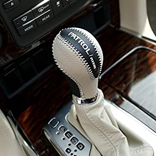 Automobile gear lever cover Non-slip Leather Gear Knob Stick Coversfor for NISSAN PATROL Y62 2011-2020 INFINITI QX80 AMAND...