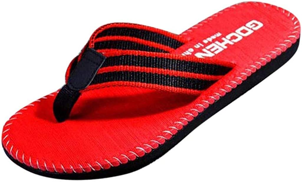 Forthery Men's Beach Shoes Casual Flip Flops Light Weight Thong Sandals Couple Shoes(Red,9.5) 2020