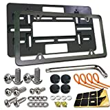 Front License Plate Bracket- Universal Front Bumper License Plate Mounting Kit, Car Tag Holder Adapter& Black Aluminum Plate Cover, Anti-Theft Lock Screws, Caps, Nuts, For US Vehicle Or Trailer, Truck