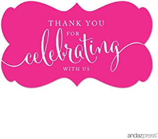 Andaz Press Fancy Frame Rectangular Label Stickers, Thank You for Celebrating With Us, Fuchsia, 36-Pack