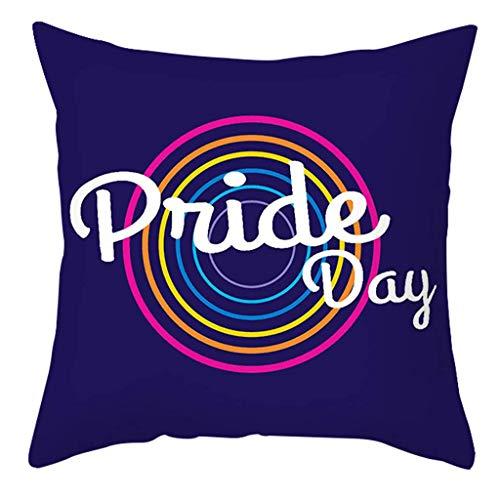 Arco Iris Corazón Impreso Caja de Almohada Cartas Letras Pride Cojín Funda Decoración leilims (Color : 4)