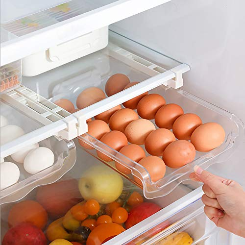Auto Scrolling Refrigerator Egg Drawer,Pull Out Fridge Drawer Organizers Fridge Shelf Holder Storage Box,Snap-on Egg Holder for Refrigerator Organizes and Protects Eggs,Egg Storage Container (Style 1)