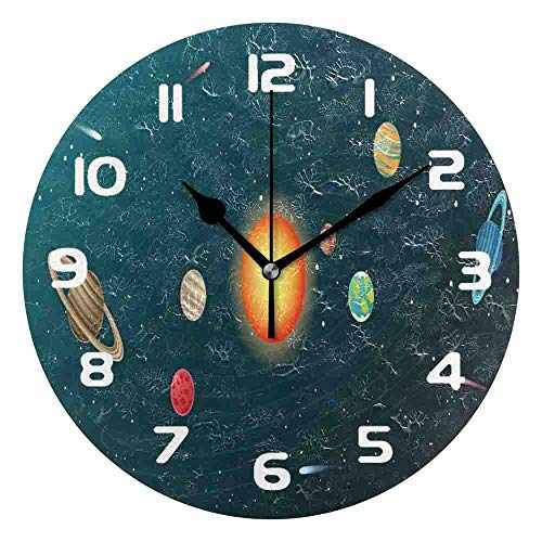 PICOM99 Wall Clock - Solar System Planet Silent Non-Ticking Desk Clock for Bedroom Living Room Home Office Decor with 10in