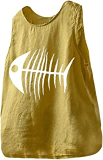 OULSEN Plus Size Women Blouse Tunics Tops Simple Fishbone Graphic Print Round Neck Sleeveless T-shirt Summer Casual Loose Vest Shirt Tank Top