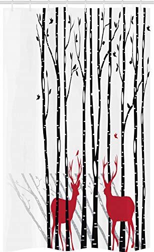 ABAKUHAUS Hirsch Schmaler Duschvorhang, REH Tier Baum Wald Muster, Badezimmer Deko Set aus Stoff mit Haken, 120 x 180 cm, Weiß Anthrazit grau & Zinnoberrot