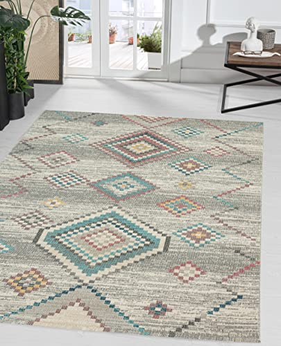 the carpet Palma In- & Outdoor Teppich Flachgewebe, Robust, Modernes Design, Vintage Optik, Used Look, Superflach, UV- und Witterungsbeständig, Rauten Muster, Creme, 120 x 170 cm
