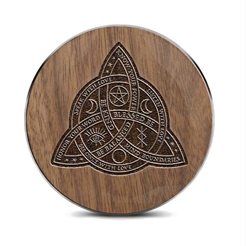 Wireless Charger Good Witch Celtic Knot Designable Laser Carving Wood 10W Fast Charging Pad for iPhone 12 Pro Max/12 Mini/11 Pro Max/X/XR/XS AirPods, Galaxy S20/S20 Plus/Note10, Pixel 3/4