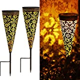 ANGMLN 2 Pack Garden Solar Pathway Lights - Upgraded Wider Solar Panel Outdoor Waterproof Decorative Metal Stake Lights with Lacy Cone Pattern for Walkway Yard Planter Steps Patio Lawn Fence