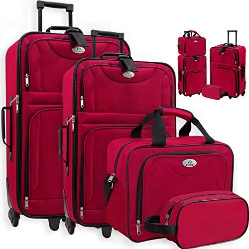 KESSER® 4tlg Trolley Kofferset | Reisekoffer Set mit Rollen | Komplettes Business 4er Set | S M L XL | Netzfach | Rollen | Teleskopgriff | Koffer Reisetaschen Stoffkoffer | Handgepäck | Rot