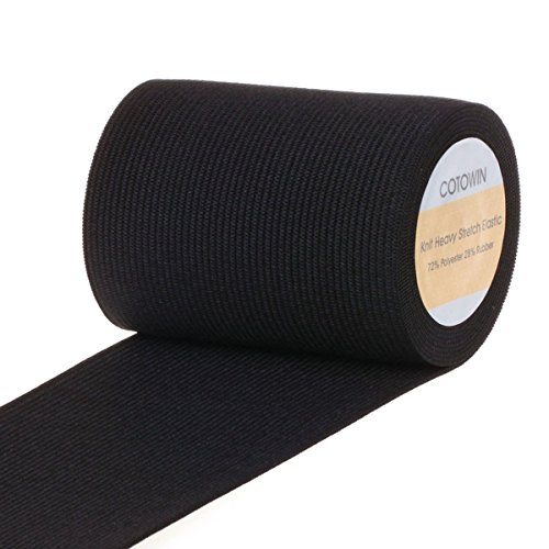 COTOWIN 3-inch Wide Black Heavy Stretch High Elasticity Knit Elastic Band 3 Yards