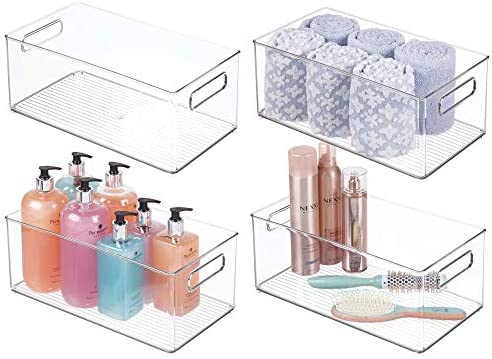 mDesign Deep Plastic Storage Bin Tote with Handles for Organizing Cosmetics Makeup Palettes product image
