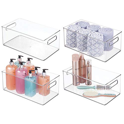 mDesign Deep Plastic Storage Bin Tote with Handles for Organizing Cosmetics, Makeup Palettes, Body Wash, First Aid, Vitamins, Supplements, Hair Styling Accessories, 4 Pack - Clear