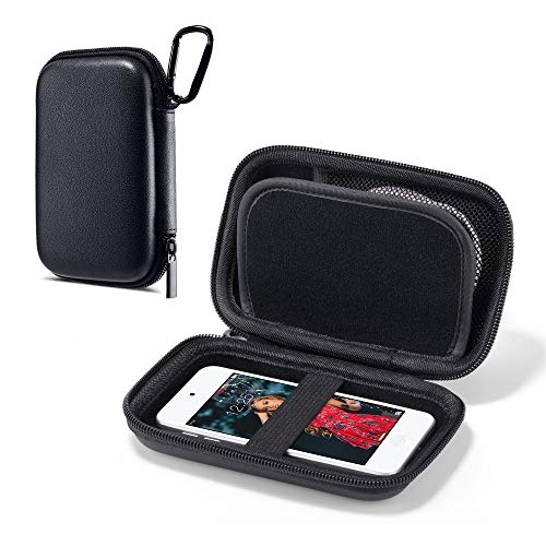 ULAK MP3 Spieler Tasche, Eva Case Hülle für iPod Touch & Nano/Victure/Soulcker/SVMUU mit Bluetooth und anderem Musikplayer. Etui für Powerbank, Kopfhörer, USB-Kabel, Speicherkarte - Schwarz