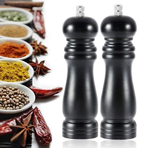 ROVE Salz und Pfeffer mühle Holz SetPfeffermühle Manuelle Salzmühle Gewürzmühle mit Verstellbarem Keramikmahlwerk (8 Zoll/2 Packs)