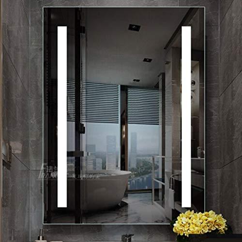 DCJLH Espejo baño Pared Espejo Plata Baño LED Espejo con Luces Iluminado baño Espejo de Pared 12V Seguridad epoxi luz de Tira de aleación de Aluminio de Alta definición Volver Marco 60cm * 80cm