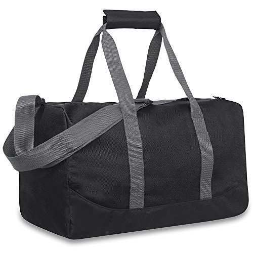 30 Liter, 17 Inch Canvas Duffle Bags for Men and Women – Travel Weekender Overnight Carry-On Shoulder Duffel Tote Bags (Black)
