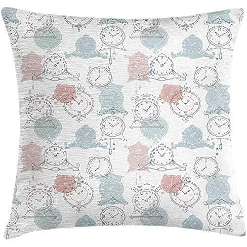 4 Stück 18X18 Zoll Pastell Throw Pillow Kissenbezug,Handgezeichnete Inspirierte Grafik Uhren In Pastelltönen Auf Einem Einfachen Hintergrund,Home Decor Square Akzent Kissenbezug