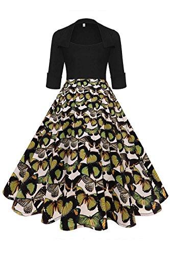 Axoe Damen 50er Jahre Kleider Rockabilly mit ärmel Freizeitkleid Schmetterling Mutter Gr.42