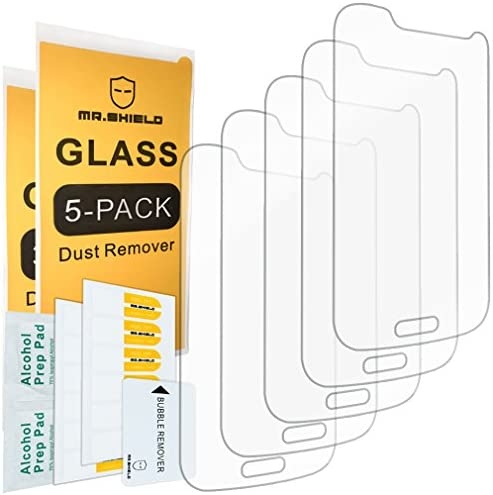 5 PACK Mr Shield For Samsung Galaxy S4 Mini Tempered Glass Screen Protector with Lifetime Replacement product image