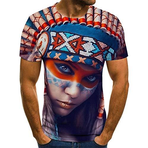 Hemd Herren Kurzarm Indische Schönheit T-Shirt männlich 3DT Shirt kurzärmelig Rundhals Digitaldruck lässig kurzärmelig-Color_110