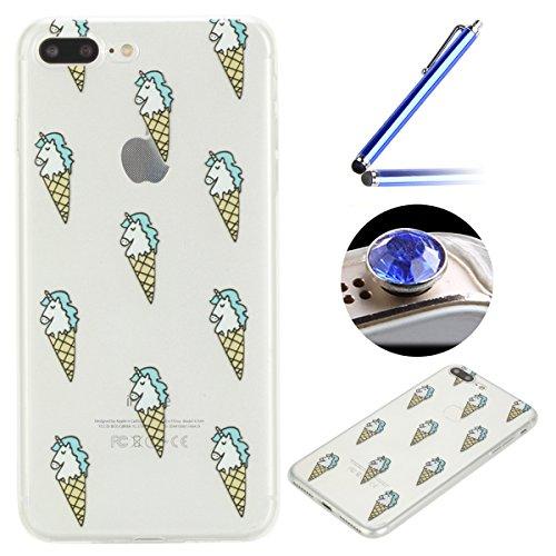 Funda [iPhone 7 Plus 5.5'],ETSUE TPU Gel Suave Funda Caso para iPhone 7 Plus 5.5',Slim Transparente Anti-cero Funda de El Teléfono móvil Cobertura de Teléfono Móvil para iPhone 7 Plus 5.5',Alto grado de Claro Funda Con Manera Moda de El Patrón Case de Teléfono para iPhone 7 Plus 5.5'+ 1 x Blue Stylus Pen + 1 x tapón anti polvo (colores aleatorios)-Helado