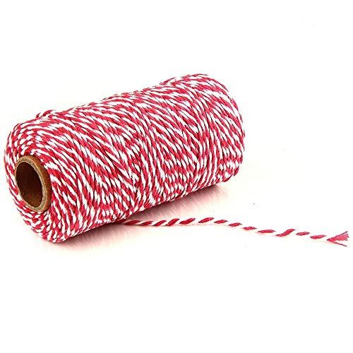 Baumwolle Bakers Twine String,100M Rot und Weiß Bindfäden,für Floristik,DIY Handwerk,Weihnachtsgeschenk-Verpackung