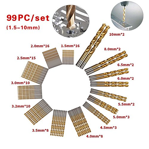 Max-Power 99Pcs HSS General Purpose Heavy Duty Titanium Coated Jobber Length Drill Bit Set Twist Drill Set In Paper Box Drilling For Metal, Steel and Alloy