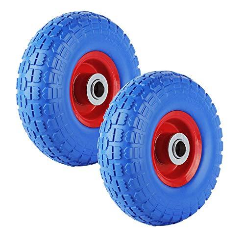 Forever Speed Kruiwagenwiel, lekvrij 3.50-4 PU massief rubberen banden voor kruiwagen, 260 mm massief rubberen banden, max. belasting 80 kg, 2 pcs 3.50-4, blauw en rood., 1