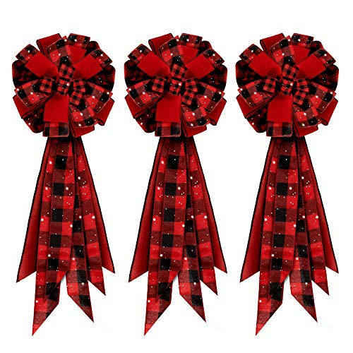 Whaline 3pcs Christmas Bow Decorations, Buffalo Plaid Bows, Red Black Plaid Bows, Large Wreath Bow, Xmas Decorative Bows Ornaments for Home Decor, Christmas Party, 13 x 22in