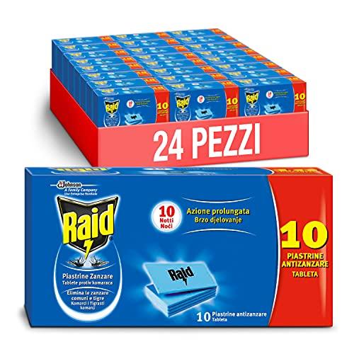 Raid Piastrine, Protezione contro le Zanzare, Inodore, Formato Scorta 24 confezioni da 10 pezzi ciscuna [240 piastrine]