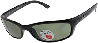 RB4115 Rectangular Sunglasses, Black/Polarized Green, 57 mm