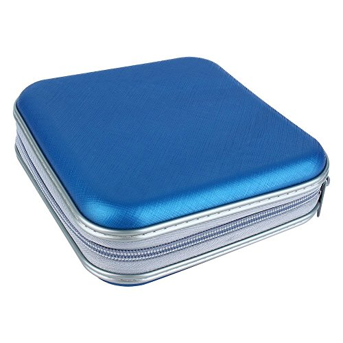 Twinsisi Portable Plastic 40 CD DVD VCD Case Storage Bag Organizer Wallet Holder Album Box for Car, Home, Office and Travel (Blue)