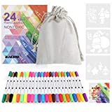 Zacro rotulador tela permanente 24 colores marcadores permanente de doble punta para colorear ropa,vaquera, camisetas,100% no tóxicos