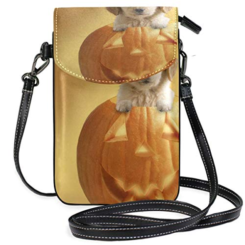 XCNGG bolso del teléfono Small Crossbody Coin Purse Halloween Pumpkin Smile Face And Dog Phonepurse for Women Bags Leather Multicolor smart phone Bags Purse With Removable Strap