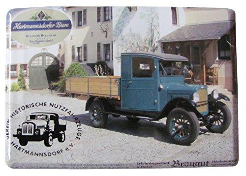 Hartmannsdorfer Biere - Verein Historische Nutzfahrzeuge - Blechpostkarte mit Umschlag 10 x 14 cm