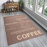 Tapiso FLOORLUX Teppich Sisal Optik Flachgewebe Strapazierfähig Braun Beige Schrift Buchstaben Coffee Muster Designer Küche 80 x 150 cm