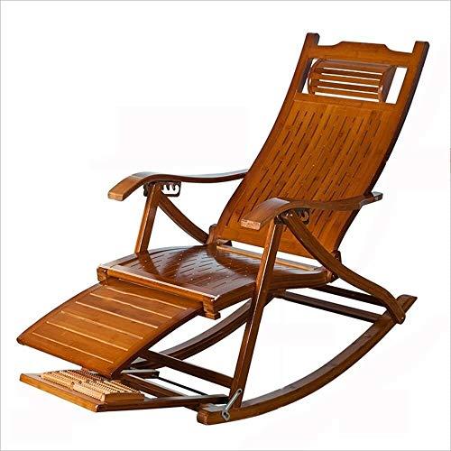 Aoyo Leerer Schaukelstuhl for Freizeit Schaukelstuhl Bambus Dining Chair mit antiker Mittagspause Schaukelstuhl aus Massivholz weichen Stuhl Easy Chair